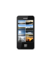 modern mobile phone with many photo of landscapes