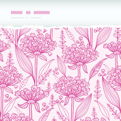 Pink lillies lineart horizontal torn seamless pattern background