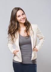 Elegant young brunette woman.