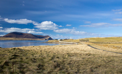 Orkney coast with Island of Hoy in the distance
