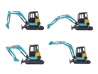4 actions of isolated mini excavator model in white background