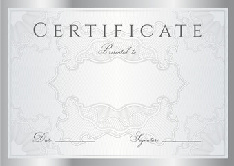 Vector: Certificate / Diploma template. Silver background, borders