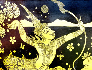 Traditional Thai style painting in Ramayana literature
