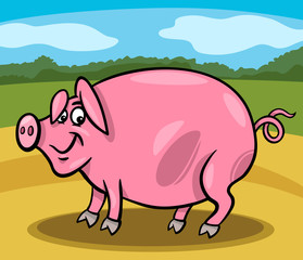 Foto auf Gartenposter Bauernhof pig farm animal cartoon illustration