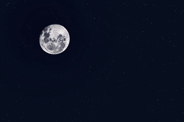 Night Starry Sky Background. Full Moon