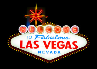 Fotorolgordijn Las Vegas Welcome to Las Vegas sign isolated