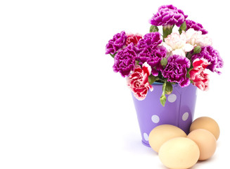 Easter eggs and flowers solated on white