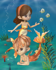 Photo sur Plexiglas Mermaid Cute Toon Goldfish Merpeople Scene