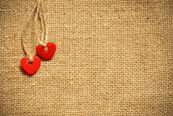 Two hearts on canvas