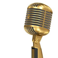Golden retro microphone gold music award