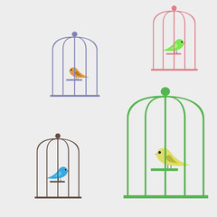 Recess Fitting Birds in cages Vector illustration bird in a cage