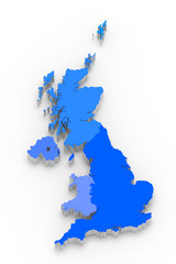 3D blue map of Great Britain on white