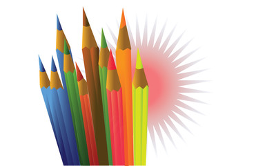 vector set of colored pencils and bubbles