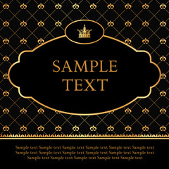 Golden label on damask black background