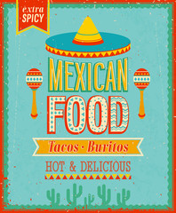 Wall Mural - Vintage Mexican Food Poster. Vector illustration.