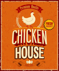 Wall Mural - Vintage Chicken House Poster. Vector illustration.