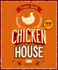 Wall Mural - Vintage Chicken House Poster. Vector illustration.