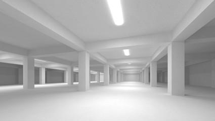 Abstract white empty underground parking interior