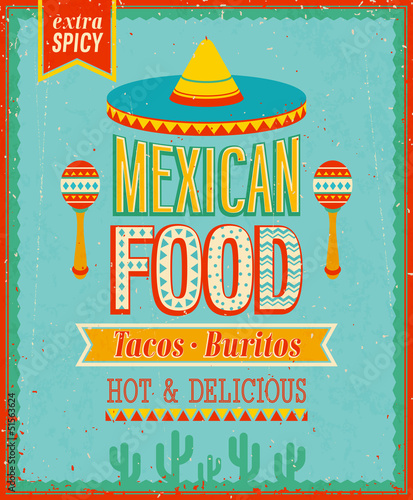 Wall mural Vintage Mexican Food Poster. Vector illustration.