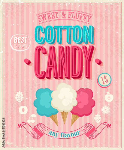 Wall mural Vintage Cotton Candy Poster. Vector illustration.