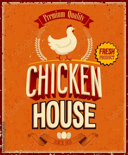 Wall mural Vintage Chicken House Poster. Vector illustration.