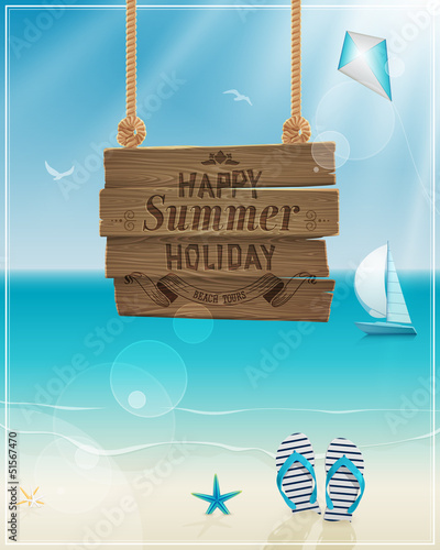 Wall mural Beautiful seaside view poster. Vector background.