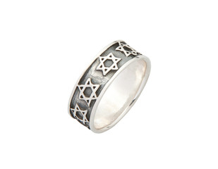 Islam religious symbol silver ring on white background