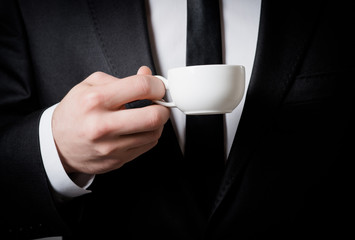 business man with coffee cup