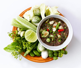Thai food, shrimp paste spicy sauce with fresh vegetables