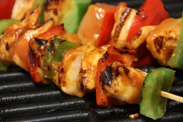 Chicken kebab on grill