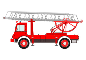 Retro fire truck with a ladder.