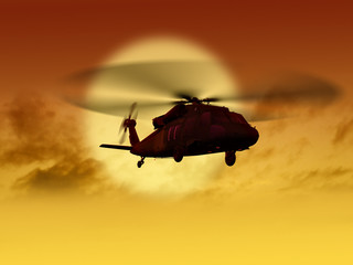 Helicopter flying from sun