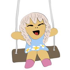 cute girl sit on swing vector