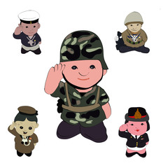 Aluminium Prints Military mix soilders vector