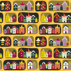 Colorful seamless pattern with road and cartoon houses