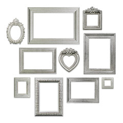 Family or photo frames on wallpaper background