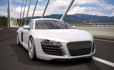 luxury sport sedan car crossing bridge 3d rendering