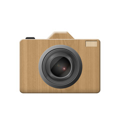 Camera design made by wood on white background