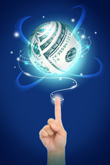 hand point to money sphere
