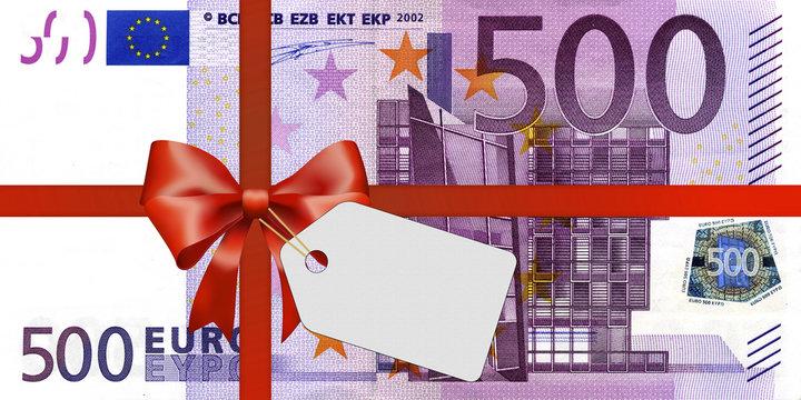 500 Euroschein mit Geschenkband und Label