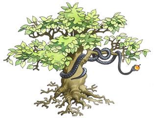 Black mamba hidden on a tree.