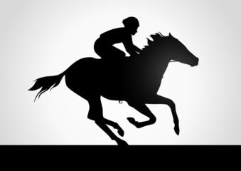 Silhouette illustration of jockeys in horse race