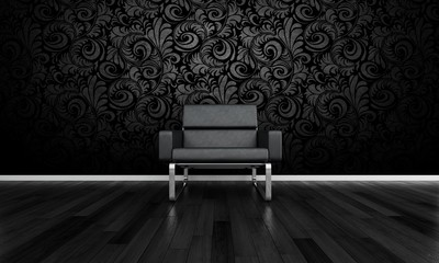 Modern Chair in Front of Dark Black Wall