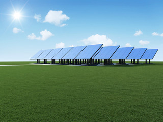 Modern Solar Panels Farm on beautiful landscape
