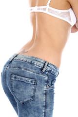Model Released. Woman Wearing Tight Jeans
