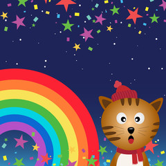 Printed kitchen splashbacks Cats Cat in the night sky with rainbow