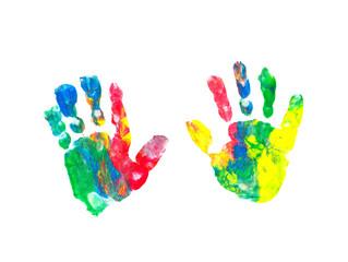 Bunte Handabdrücke eines Kindes