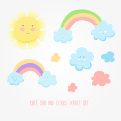 Set of cute sun, cloud and rainbow illustration.