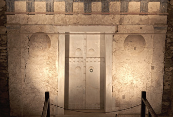 Ancient Macedonian tomb of king Philip at Vergina in Greece