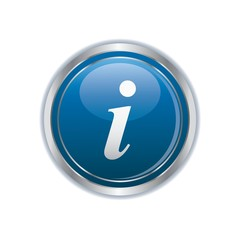 Information icon on blue with silver button